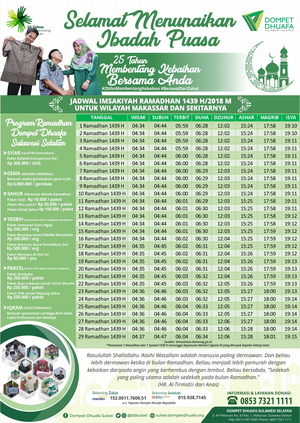 Jadwal Imsakiyah Ramadhan 1439 H/2018 M untuk Wilayah Makassar
